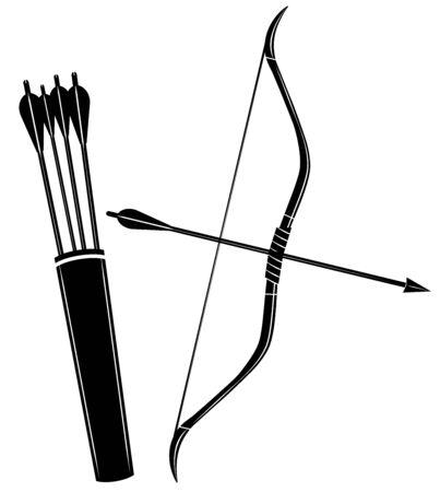 Bow, arrow and quiver vector illustration icon Фото со стока