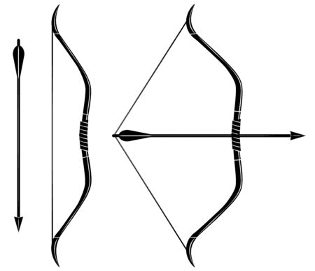 Bow and arrow icon vector. Stretched bow. Imagens