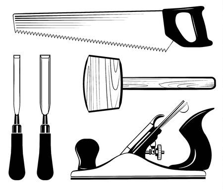 Woodworking and carpentry tools set vector. Mallet, jack plane, chisel, saw. Иллюстрация