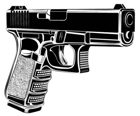 Pistol gun vector illustration.