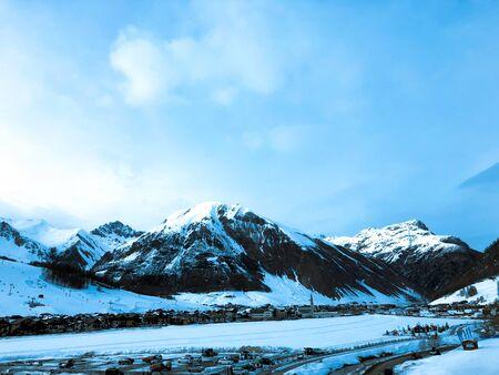Beautiful mountains in Italy Livigno. Ski resort. Alps.