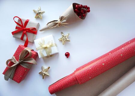 Present gift boxex with bow on white background. Christmas concept.