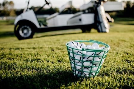 Golf clubs drivers over green field background. Summer sunset Standard-Bild
