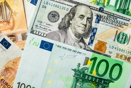 Background of the money. Euro and Dollar. financial concept Stock Photo