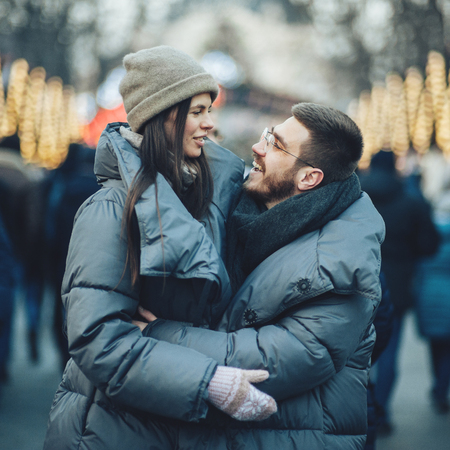 Christmas romantic sensual couple in love to cold winter day ove Stock Photo