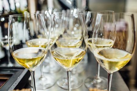 Full cold champagne flutes Archivio Fotografico