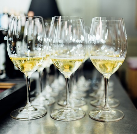 Full cold champagne flutes Stock Photo