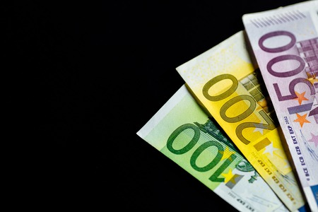 Financial concept: heap of different Euro banknotes Stock Photo