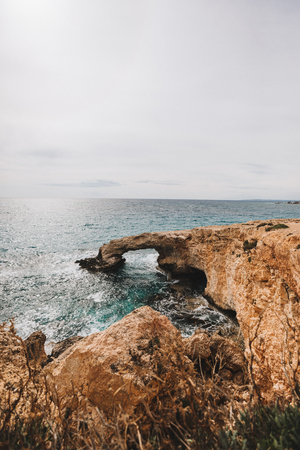 sandy beach coast in the mediterranean sea landscape on Cyprus i