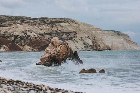Seascape with Petra tou Romiou, also known as Aphrodites Rock, Stock Photo