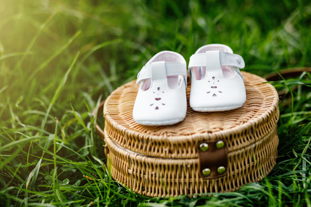 Waiting of baby. Pregnant woman. Happy family. baby's bootees with free copy space.
