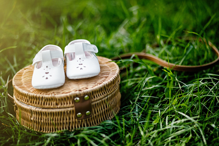 Baby shoes on the grass. Stylish baby shoes with free copy space.