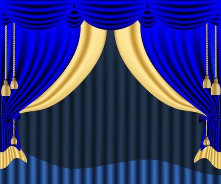 window shades: Blue window shades Illustration