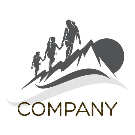 family hiking: family and camping icon