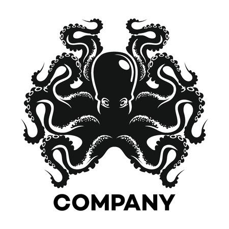 Black octopus icon Illustration