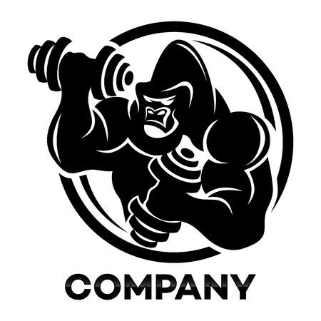 Gorilla athlete with dumbbells icon