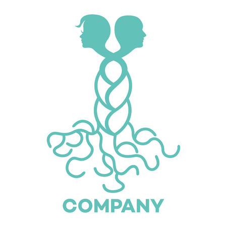 Woman and man with relatives logo