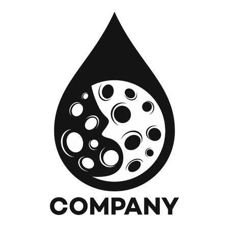水と月の紋章デザインのベクトルのドロップ
