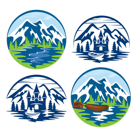 Mountains in a circle logo