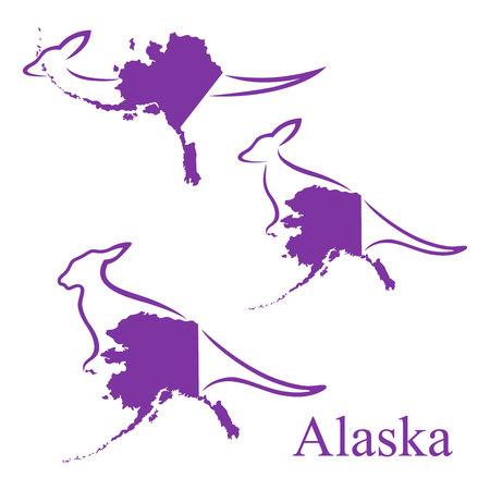 カンガルーとアラスカの地図
