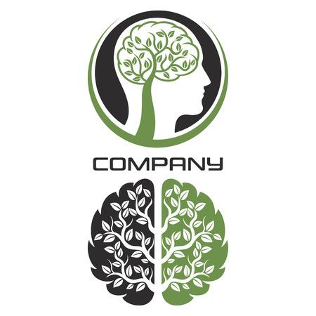 Tree and human brain graphic design illustration.