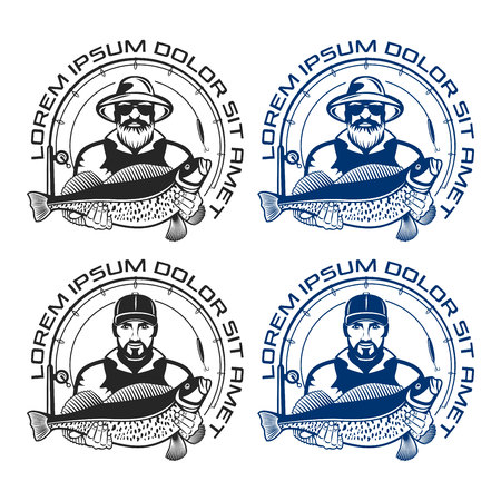 Sea fishing icon. Vector illustration.