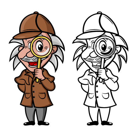mascot detective with magnifier