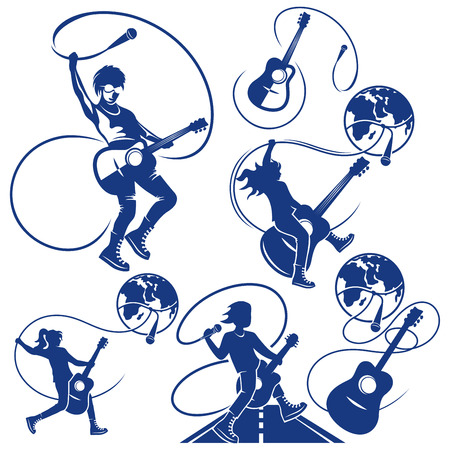 Silhouette of musician and guitar