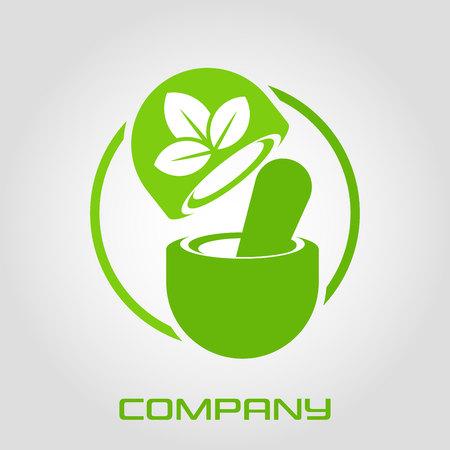 Logo pharmacology and capsule Standard-Bild - 119848431