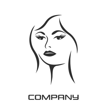Beautiful female face and beauty of the logo Standard-Bild - 119848375
