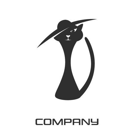 Stylish cat in a hat logo Standard-Bild - 119848377