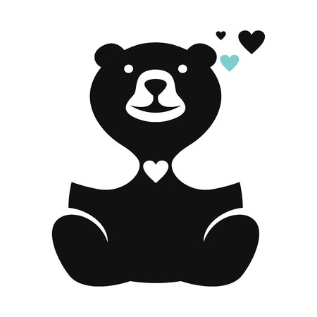 Teddy bear and heart logo Standard-Bild - 119848385