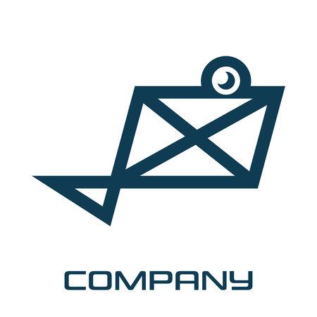 Mail and fish logo Standard-Bild - 119848396