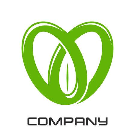 Heart and green leaf logo Illustration