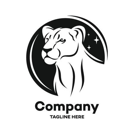 Modern black lioness logo Logo