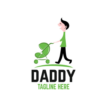 Dad with stroller logo 向量圖像