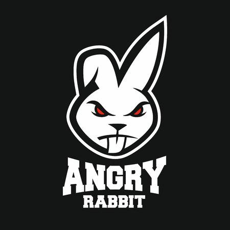 Mascot angry rabbit logo