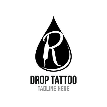 Modern drop tattoo logo