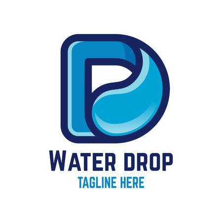 Modern drop letter D logo Ilustracja