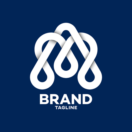Modern aqua love and letter A logo Ilustracja