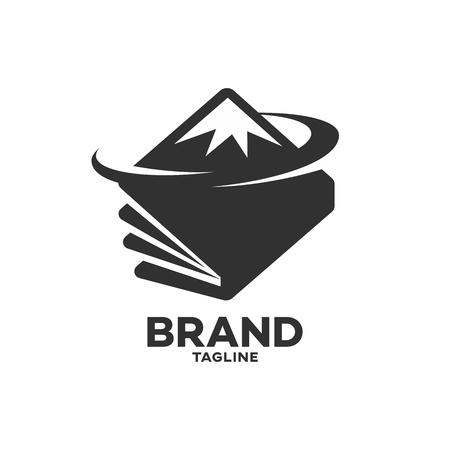 Modern book and mountains logo