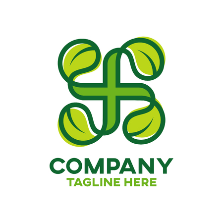 Modern natural cross and pharmacy logo