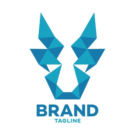 Modern logo geometric media goat Ilustracja