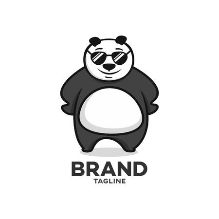 Modern character panda with glasses logo