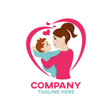 Modern happiness mother and child logo Ilustracja
