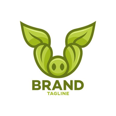 Modern Leaf Pig logo Ilustracja
