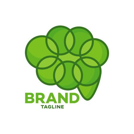 Modern leaf brain logo