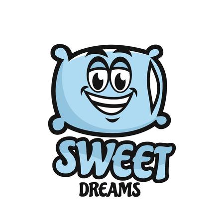 Modern mascot pillow and sweet dream logo
