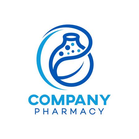 Modern Natural Pharmacy Logo Standard-Bild - 125409266