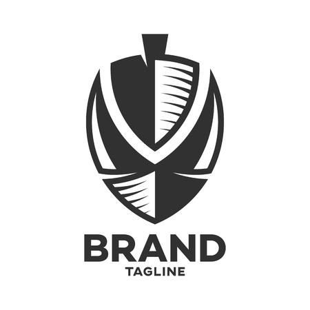 Modern logo Viking ship and the letter V